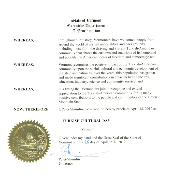 Proclamation by Governor Peter Shumlin - April 5, 2012